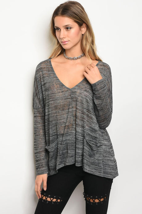 Ladies fashion long sleeve v-neck loose fitting jersey tunic top