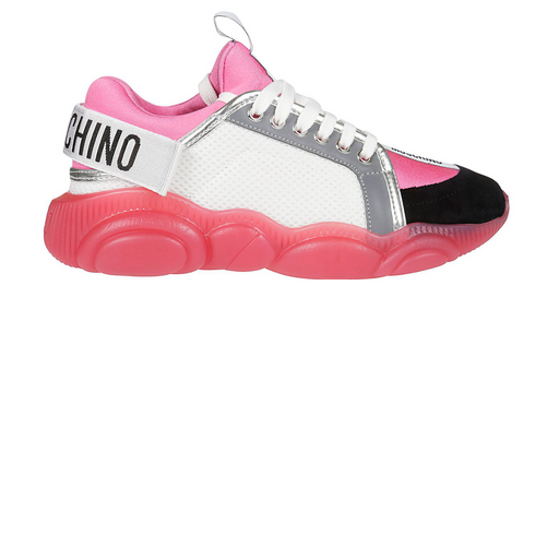 moschino sneakers teddy run w/ logo - pink
