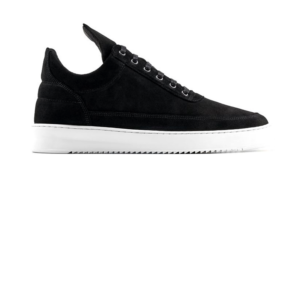 filling pieces black low top ripple waxed suede sneaker