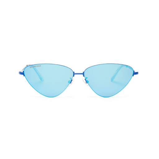 balenciaga invisible cat-eye mirrored blue metal sunglasses
