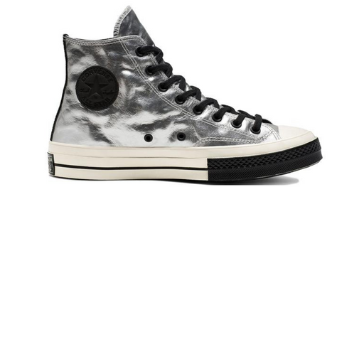 converse chuck 70 flight school leather high top - silver sneaker
