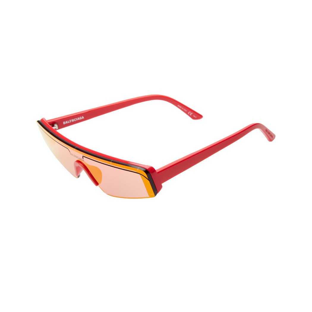 balenciaga rectangle sunglasses red