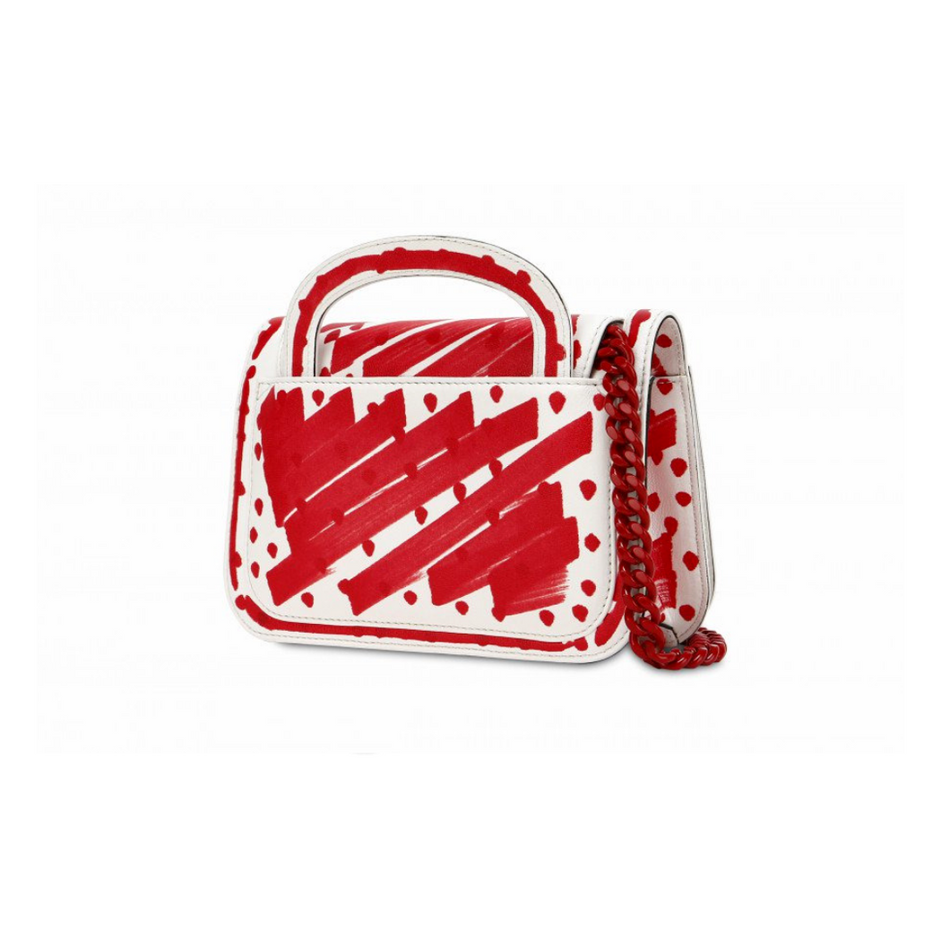 moschino clutch brushstroke polka dots w/ logo bag
