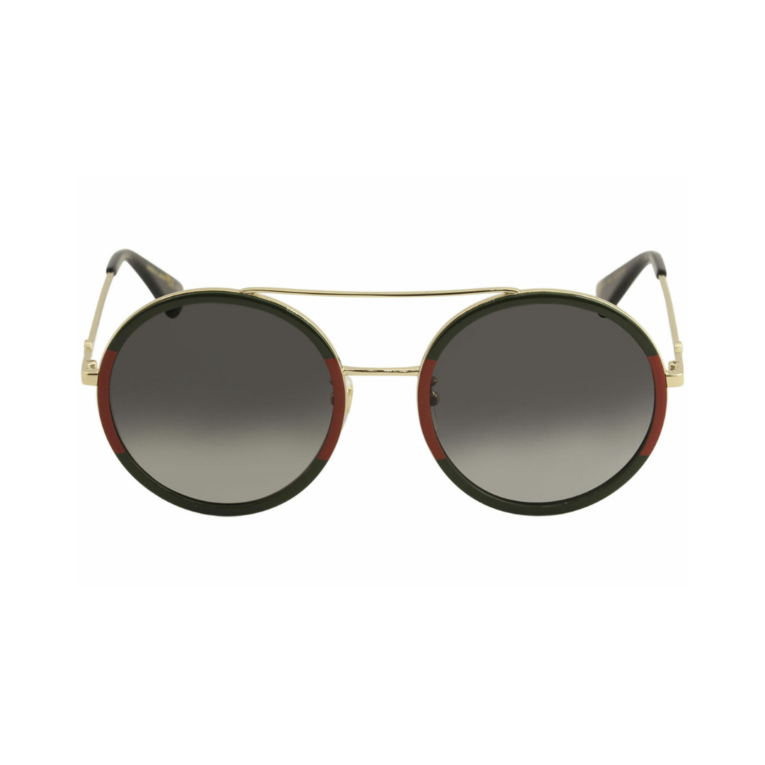 55196fe66d2 gucci gold green  red round woman metal sunglasses — nous