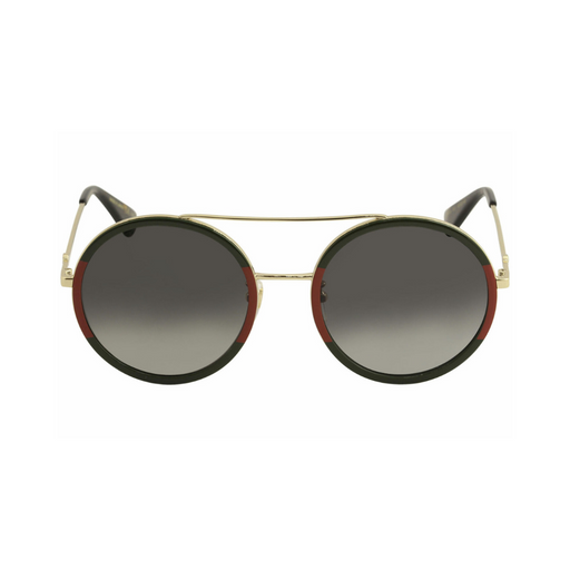 gucci  gold/green/ red round woman metal sunglasses
