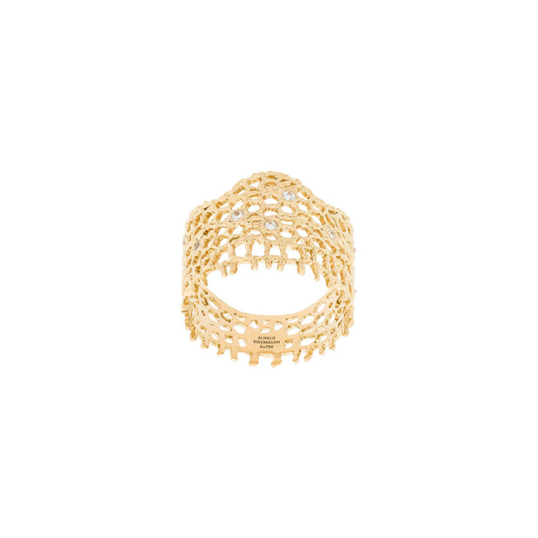 AURELIE BIDERMANN LACE RING YELLOW GOLD
