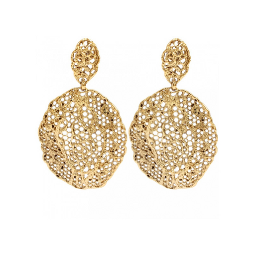 AURELIE BIDERMANN LACE EARRINGS YELLOW GOLD