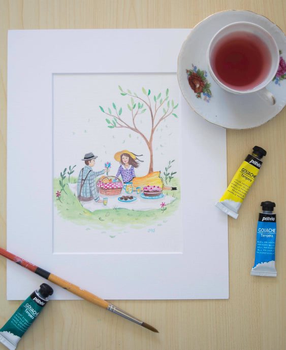Romantic picnic watercolour print by Wairarapa artist Michelle Stanic