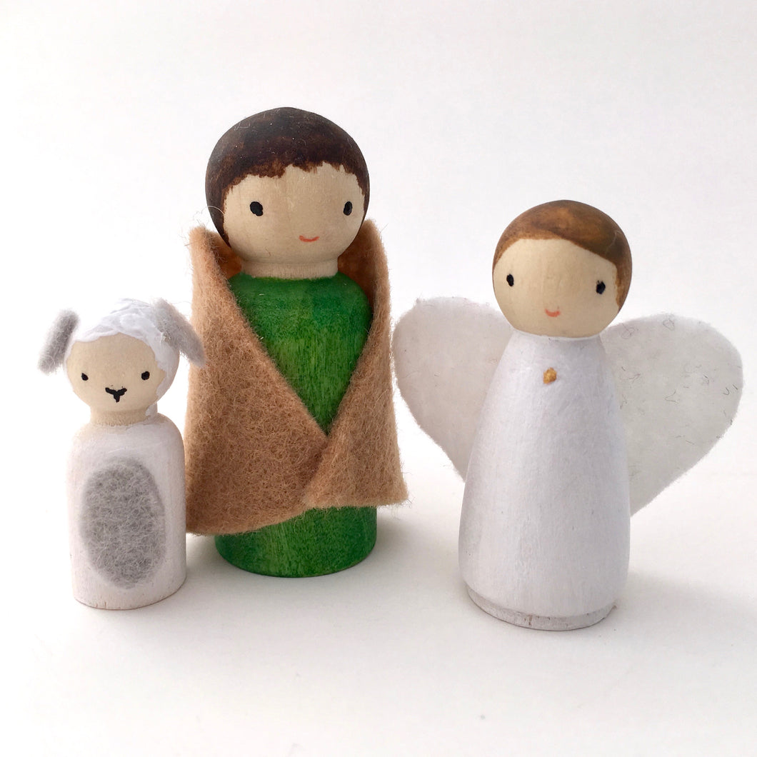Shepherd, angel and sheep peg dolls for Happyful nativity set