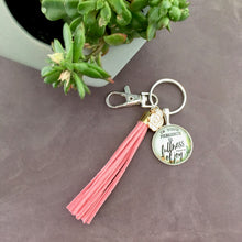 Christian fullness of joy key ring with pink suede tassel