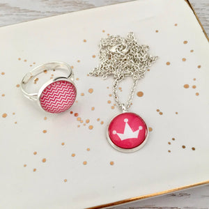 Pink princess crown girls pendant necklace with pink ring