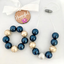 Girls bubblegum bead necklace navy and gold