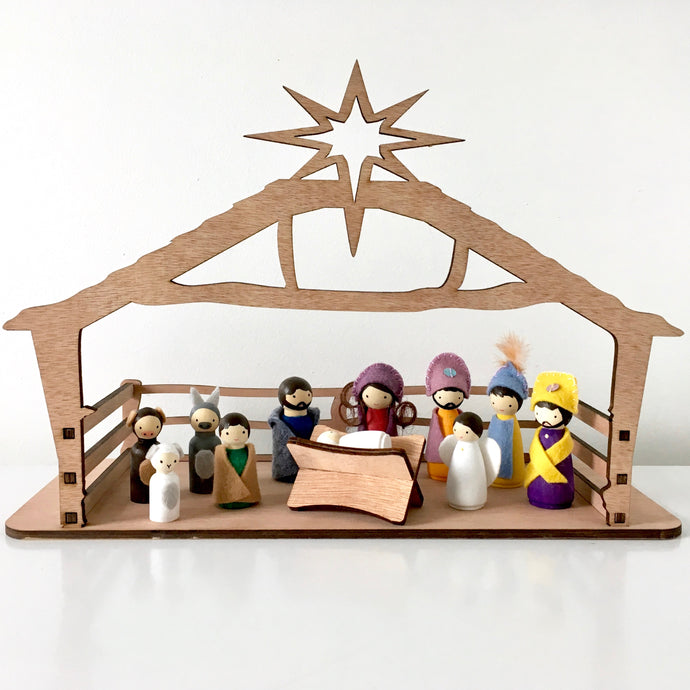 Nativity set NZ, handpainted and hand crafted peg dolls with manger and stable