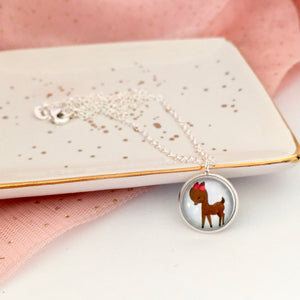 Girls deer pendant necklace with silver link chain