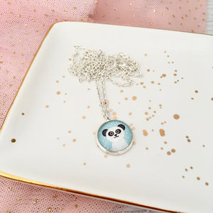 Girls blue panda necklace on silver link chain