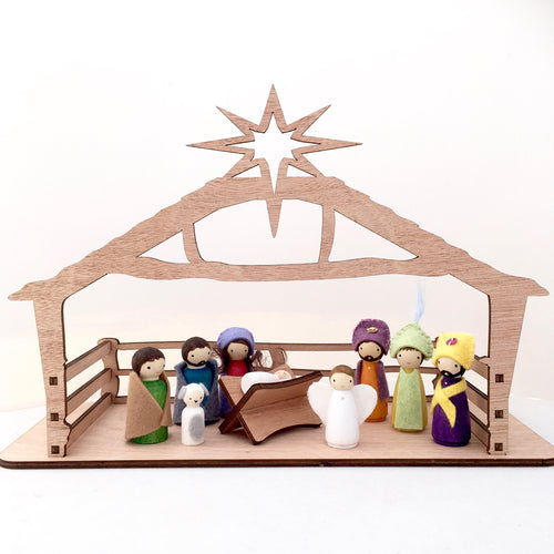 Peg doll nativity set with holy family, shepherds, wise men and angel, manager and stable, hand painted and hand crafted peg dolls