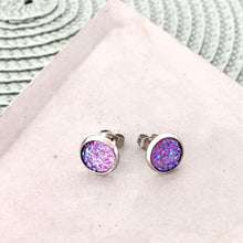 Light purple sparkle faux druzy mini 8mm stud earrings