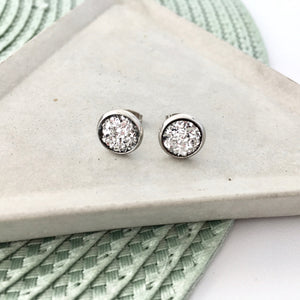 Bright Silver Sparkle Stud Earrings