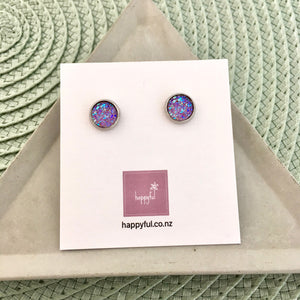 Purple Sparkle Stud Earrings