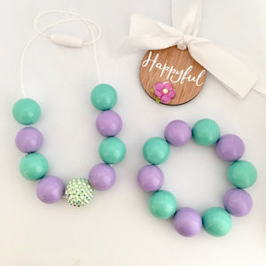 Mint and purple kids bead jewellery set necklace and bracelet