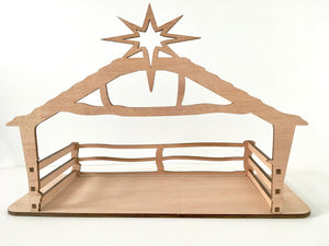Kit set laser-cut plywood nativity stable for Christmas nativity set