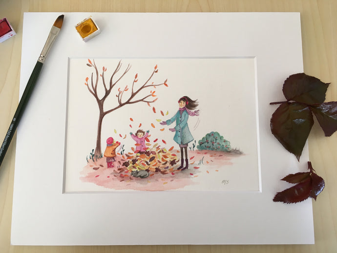 Autumn leaves print of handpainted watercolour, mother playing in leaves with her two children, Wairarapa artist Michelle Stanic