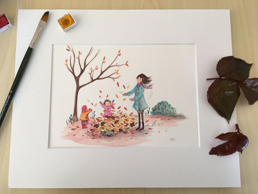 Playing with Leaves Print
