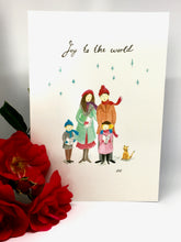Hand painted Joy to the World Christmas Card