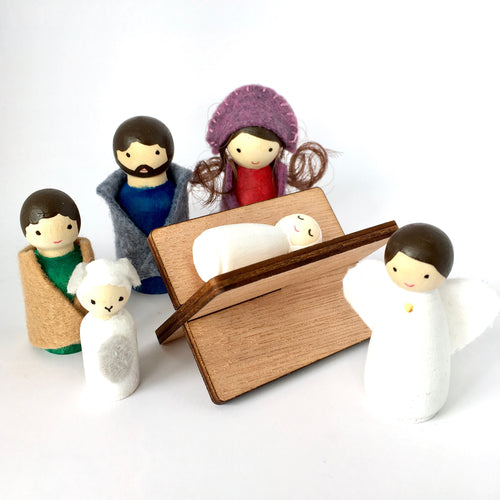 Mini handcrafted peg doll nativity set with manger, Happyful Nz
