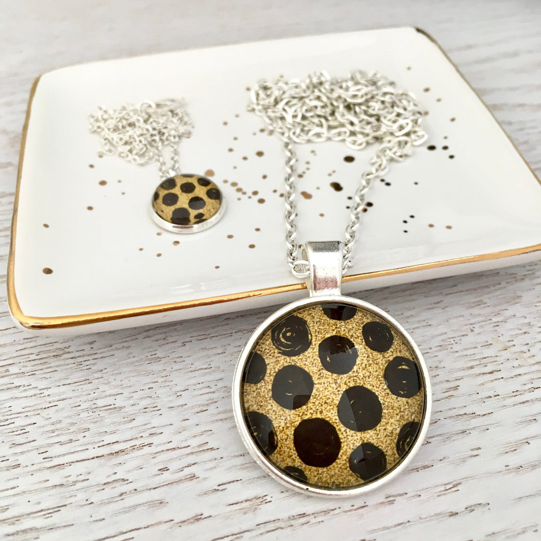 Matching Mummy and daughter glass dome pendant necklace with link chain, leopard spots black and gold