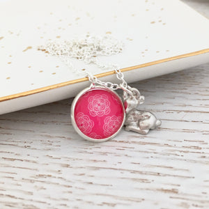 Girls pink floral glass dome pendant necklace with deer charm and silver link chain