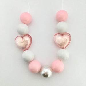Hearts Bubblegum Bead Necklace