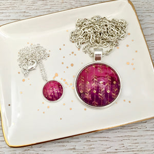 Matching Mummy and daughter glass dome pendant necklace with link chain, purple pink maroon