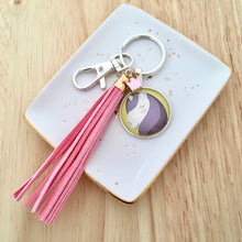 Unicorn key ring with pink suede tassel