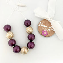 Plum Pearl Bubblegum Bead Set