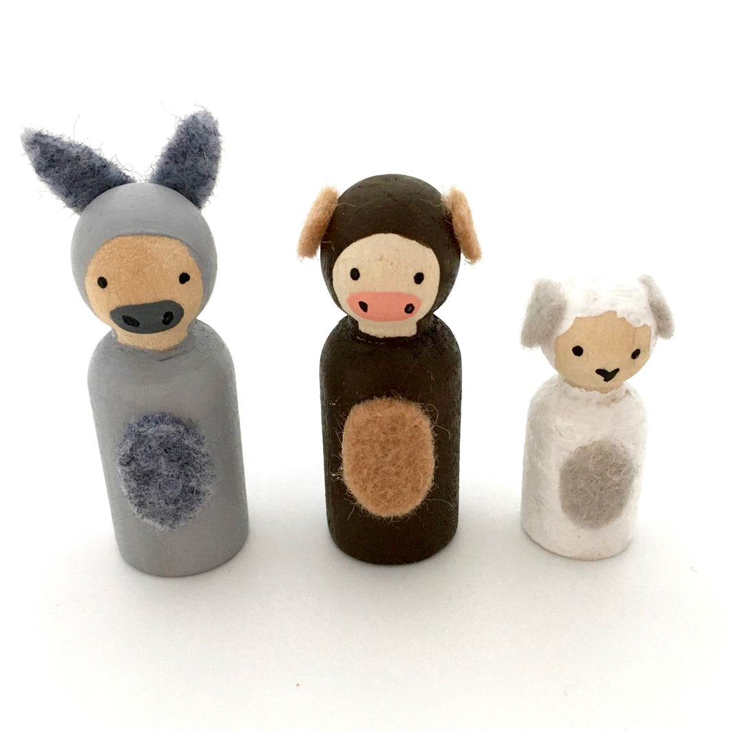 Donkey, cow and sheep nativity animals, handpainted peg dolls