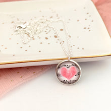 Girls musical and pink heart music lovers pendant necklace with silver link chain