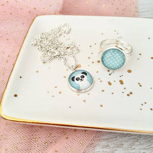 Blue panda pendant necklace and ring set with silver chain