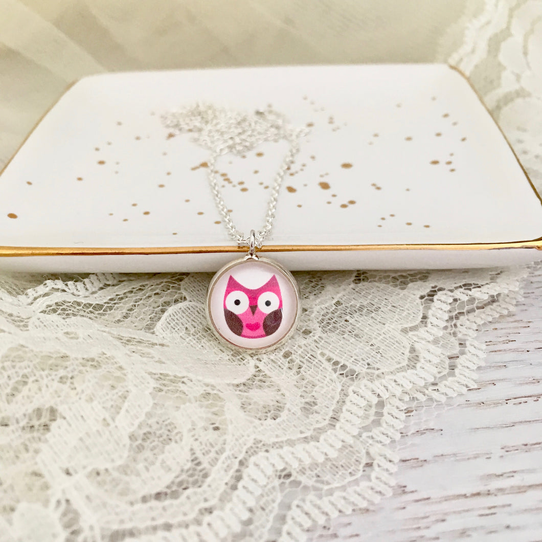 Girls Pink Owl Necklace
