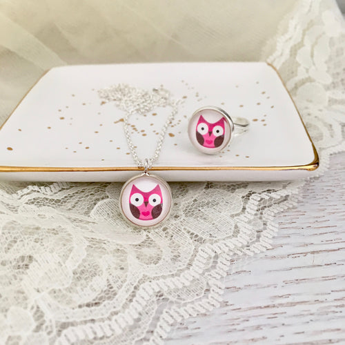 Girls pink owl glass dome necklace and ring set, birthday gift