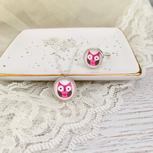 Pink Owl Necklace and Ring Set