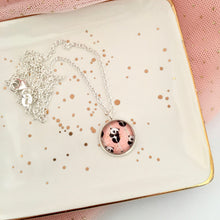 Girls necklace with pandas on a pink background by Happyful NZ
