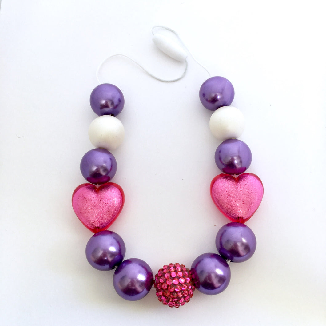 Purple and pink heart chunky bubblegum bead necklace for kids