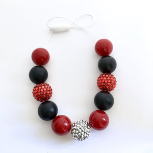Red and black bubblegum bead necklace for kids