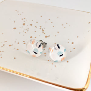 Circular design glass dome earrings nz