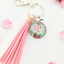 Floral wifey key ring with pink suede tassel, valentine