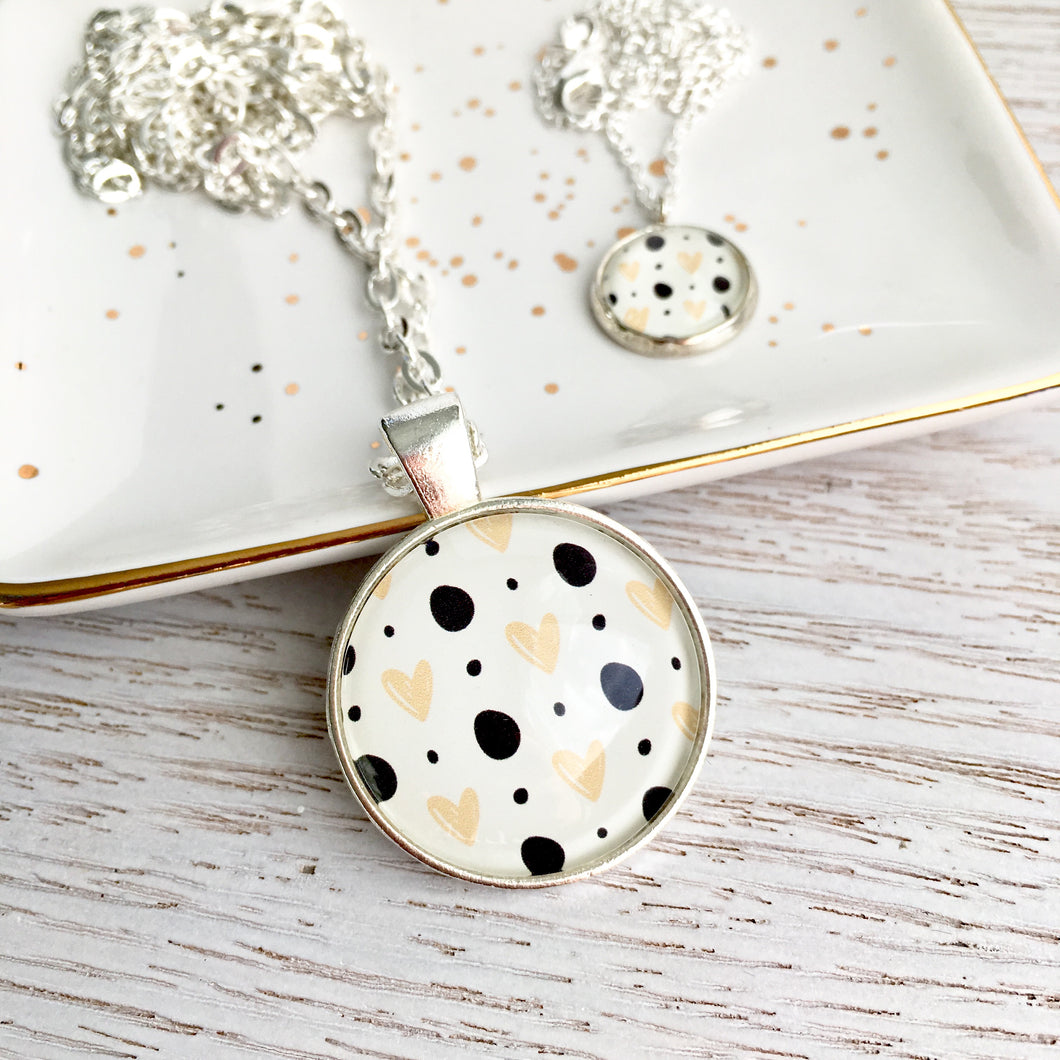 Matching Mummy and daughter glass dome pendant necklace with link chain, monochrome hearts and polka dots