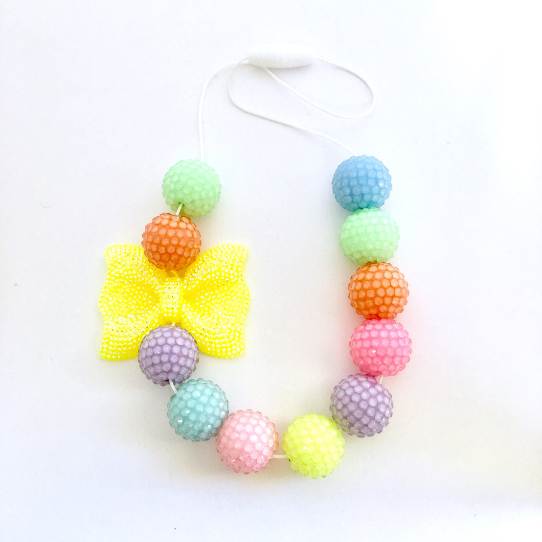 Pastel Rainbow Bubblegum Bead Necklace