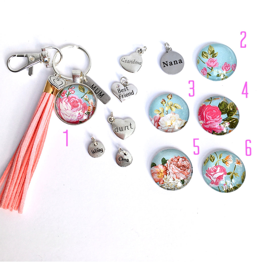 'Nana' Floral Key Ring and Bag Tag