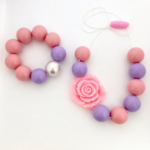 Kids pink and purple chunky bead necklace